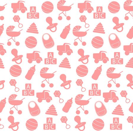 Illustration for Seamless pattern baby set on white background. Pink Baby toys seamless pattern.  Cute background for baby boy, girl shower party, invitation template - Royalty Free Image