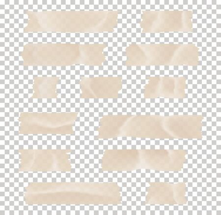 Illustration for Set of transparent adhesive tape and adhesive tape. Adhesive tape set. Sticky paper strip isolated on transparent background. - Royalty Free Image