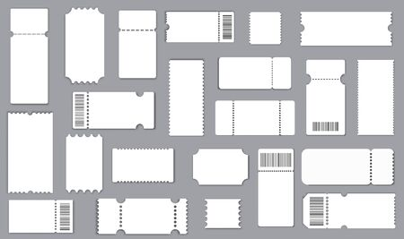 Illustration for Set of tickets template of different forms. Realistic White paper coupon. Cinema, party, circus, festival or concert tickets design. - Royalty Free Image