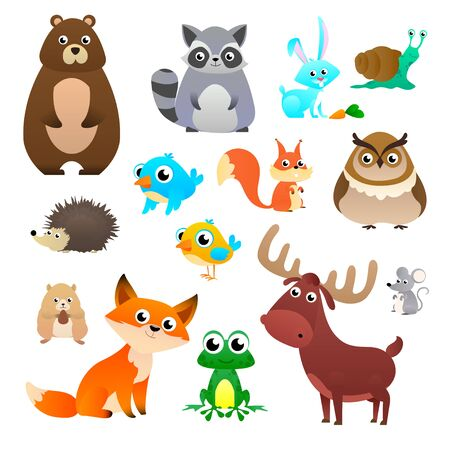 Illustration pour Big vector set forest animals in cartoon style, isolated on white background. Vector illustration design template - image libre de droit