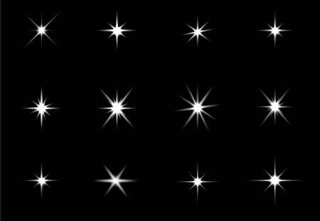 Illustration pour Glowing lights effect, flare, explosion and stars. Special effect isolated on black background - image libre de droit
