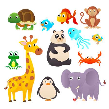 Illustration pour Collection wild animals. Cartoon animals collection: Monkey, giraffe, elephant. Vector illustration - image libre de droit