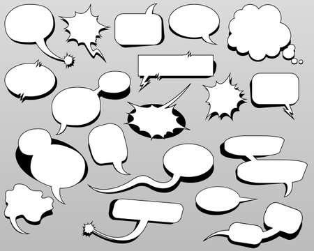 Illustration pour Cartoon oval discuss speech bubbles. Thought cloud white objects on gray-blue background. Vector illustration - image libre de droit