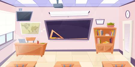 Illustration pour Cartoon classroom with chalkboard. Education concept illustration, college or university classroom. Vector illustraton - image libre de droit