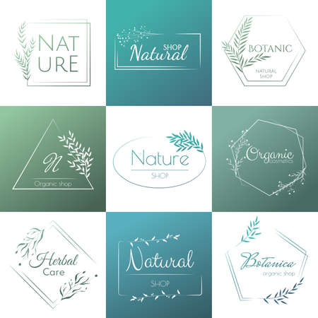 Illustration for Set of elegant and luxury organic template. Natural template for design  and natural cosmetics and organic products. Eco natural design template. Vector illustration - Royalty Free Image