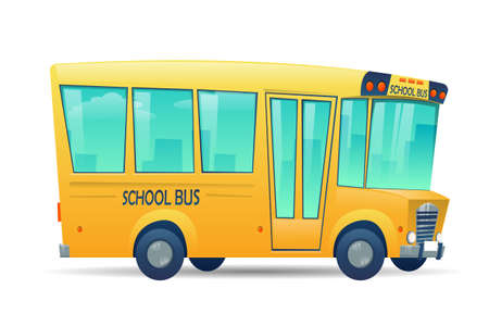 Illustration for School bus on white background. Bus for  children, education conception. Transportation pupil or student, transport and automobile. Vector illustration  - Royalty Free Image