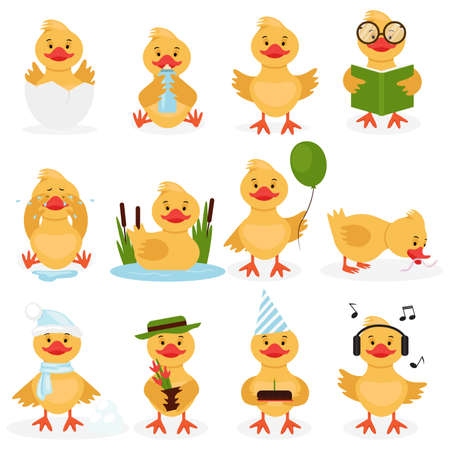 Vektor für Funny duckling set. Cute little yellow duck chick characters set. Bird duckling, funny and happy chick character on a white background practicing different activities. Vector illustration - Lizenzfreies Bild