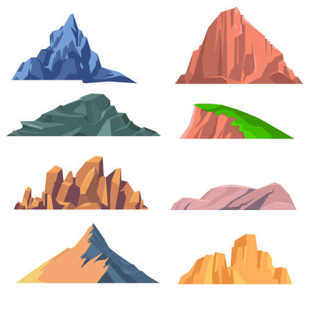 Illustration pour Set of mountains rocks flat icon. Set of isolated snowy mountains, mountain peak, hill top, iceberg, nature landscape. Different mountains isolated on white background. Vector illustration - image libre de droit
