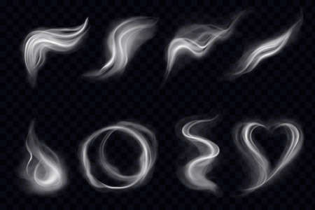 Illustration pour Steam smoke with swirl shape ring realistic set dark transparent background. Smoke steam, waves from coffee, tea, cigarettes, hot food or drinks isolated. Vector illustration - image libre de droit