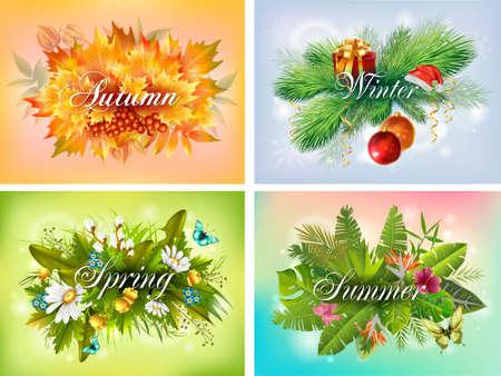 Photo pour Four seasons typographic banner set - image libre de droit