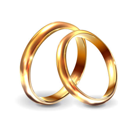 Photo pour Gold wedding rings 3d realistic engagement illustration. Wedding rings for engagement on white background. Vector illustration - image libre de droit