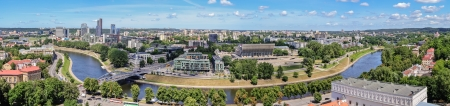 panorama - view of the city of Vilnius and Neris River from the tower of Gediminas, Lithuania