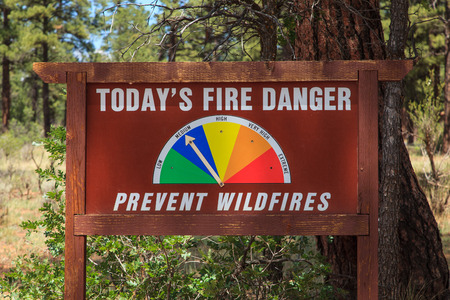 Forest Fire Danger Sign Kaibab National Forest Tusayan, Arizona