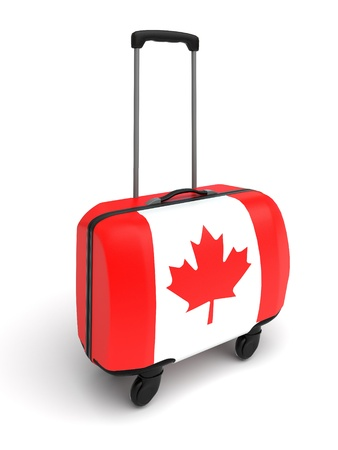 suitcase whith canadian flag
