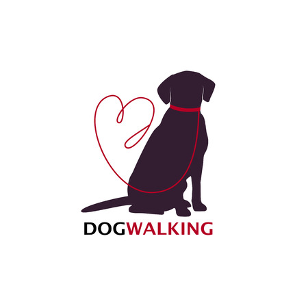 Illustration for Dog walking logo template with sitting dog silhouette. Vector Illustration - Royalty Free Image