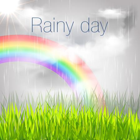 Rainy Day Banner. Rainy Day with Rainbow Illustration.