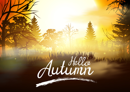 Autumn Background. Hello Autumn Vector Banner.