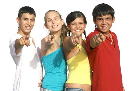 happy group pointing