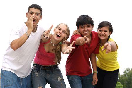 happy friendly group of teens