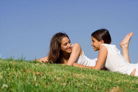 happy girls chatting