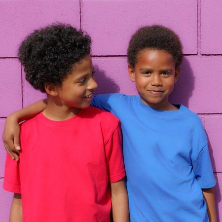 Happy little african descent black children