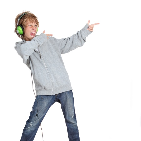 Kid pointing and listening to music