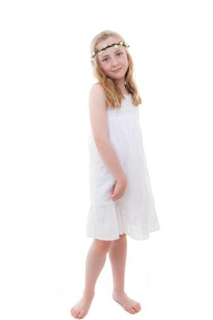 cute little girl in white summer dress
