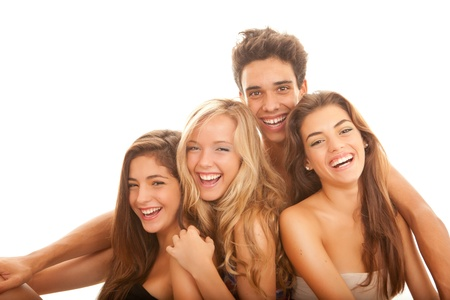 group of young people with white perfect straight teeth and smiles