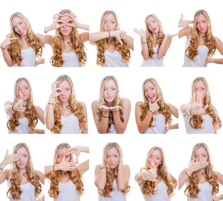 Foto de woman with different facial expressions and gestures or signs - Imagen libre de derechos