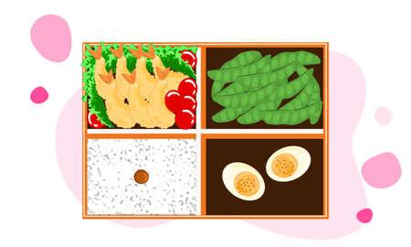 set of lunch box, tempura or shrim fried, boiled egg, bean and rice. bento vector illustrationの素材 [FY310156839742]