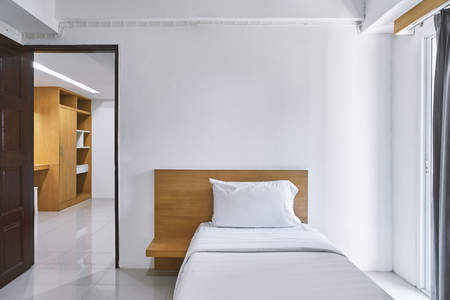 Photo for Single bedroom interior with minimal style decoration mock up for hotel apartment, Clean room - Royalty Free Image