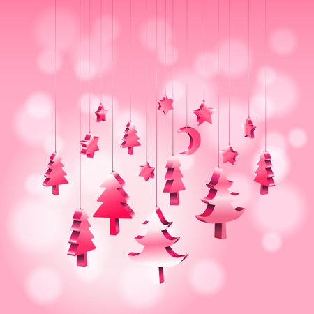 Illustration pour 3D isometric Christmas ornaments hanging rope in red pink with bokeh blurry background with copy space, Vector illustration EPS10 - image libre de droit