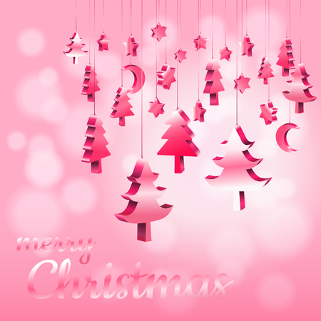 Illustration pour Red Pink pastel Christmas ornaments hanging rope in 3D isometric with bokeh blurry sweet pink background with copy space, Vector illustration EPS10 - image libre de droit
