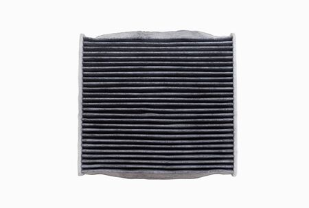 Photo pour The top side of dirty air conditioning filters isolated on white background with clipping path. Car, automotive services parts. - image libre de droit