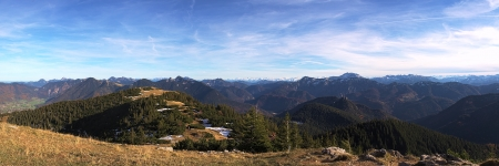 Panoramic View from Hirschberg near Tegernsee over the German and Austrian alps