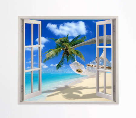 Open window on a beach