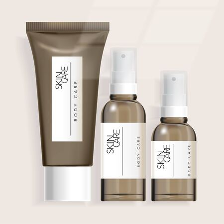 Illustration pour Vector Tube / Bottle / Jar Packaging for Healthcare Haircare Skincare Toiletries Products - image libre de droit