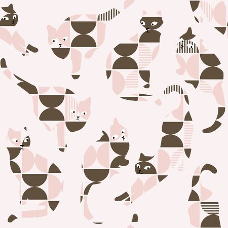 Illustration for Vector Retro Abstract Geometric Cat Silhouette Seamless Pattern, Pink & Brown. - Royalty Free Image