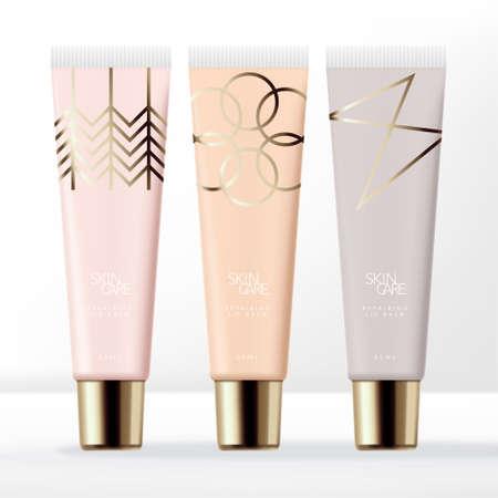Illustration pour Vector Pastel Clear Lip Gloss Tube Packaging with Gold Screw Cap & Minimal Line Art Pattern - image libre de droit