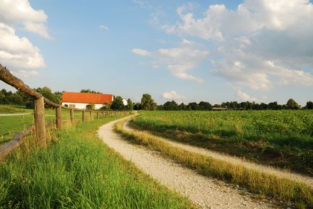 Landscape in Bavaria with a farm and a paddock.
