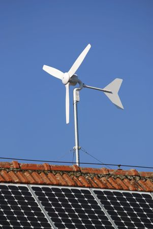 Alternative energy with solar panels and a wind engine