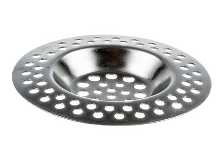 Closeup of an Isolated metallic sink strainer