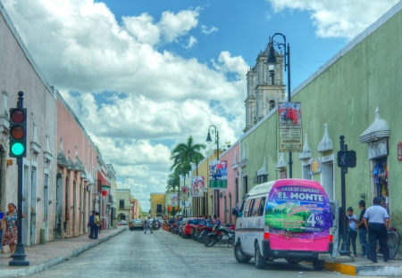 view of a colorful street of valladolid in yucatan mexico
