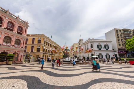 Historic Centre of Macao-Senado Square in Macau, China  The Historic Centre of Macao was inscribed on the UNESCO World Heritage List in 2005