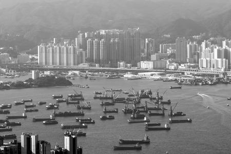 View of Hong Kong Victoria Harbor from Victoria Peak in Hong Kong, China.
