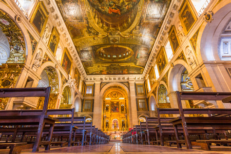 The interior of church of Sao Roque in Lisbon, Portugal. It was the earliest Jesuit church in the Portuguese world, and one of the first Jesuit churches anywhere.