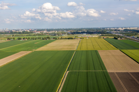 Photo pour Aerial view of farm lands in Netherlands - image libre de droit