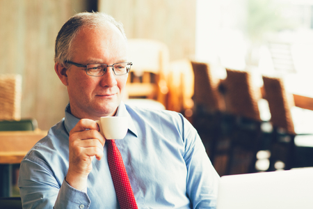 Middle-aged Business Man Satisfied With Work