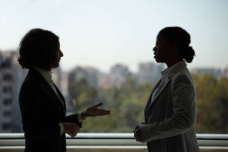 Photo pour Female business colleagues chatting in office corridor. Business women standing near office window and talking. Corporate communication concept - image libre de droit
