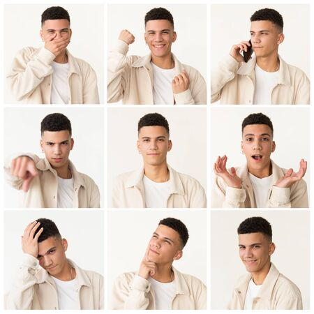 Photo pour Trendy student guy portrait set with different hand gestures and facial expressions. Stylish young man with earing studio shot collage. Multiscreen montage, split screen collage. Emotions concept - image libre de droit